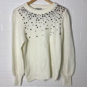 *NWT* H&M Off-White Black Beaded Sweater